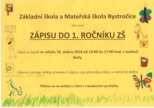 Zápis do 1. ročníku ZŠ Bystročice